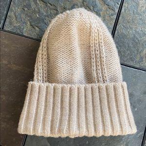 DKNY Winter Knit Hat in Beige Pearlescent (EUC)